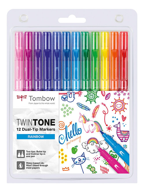 SET 12 MARKER TWIN TONE TOMBOW RAINBOW