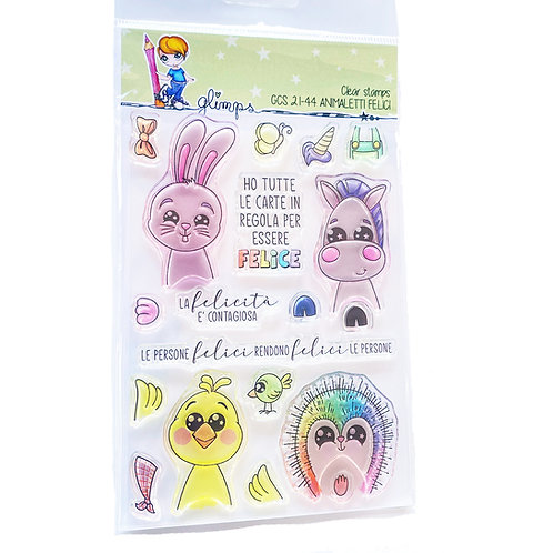 GLIMPS CLEAR STAMPS - GCS 21-44 ANIMALETTI FELICI