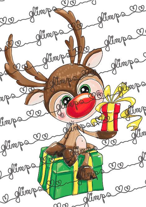 Reindeer on gift