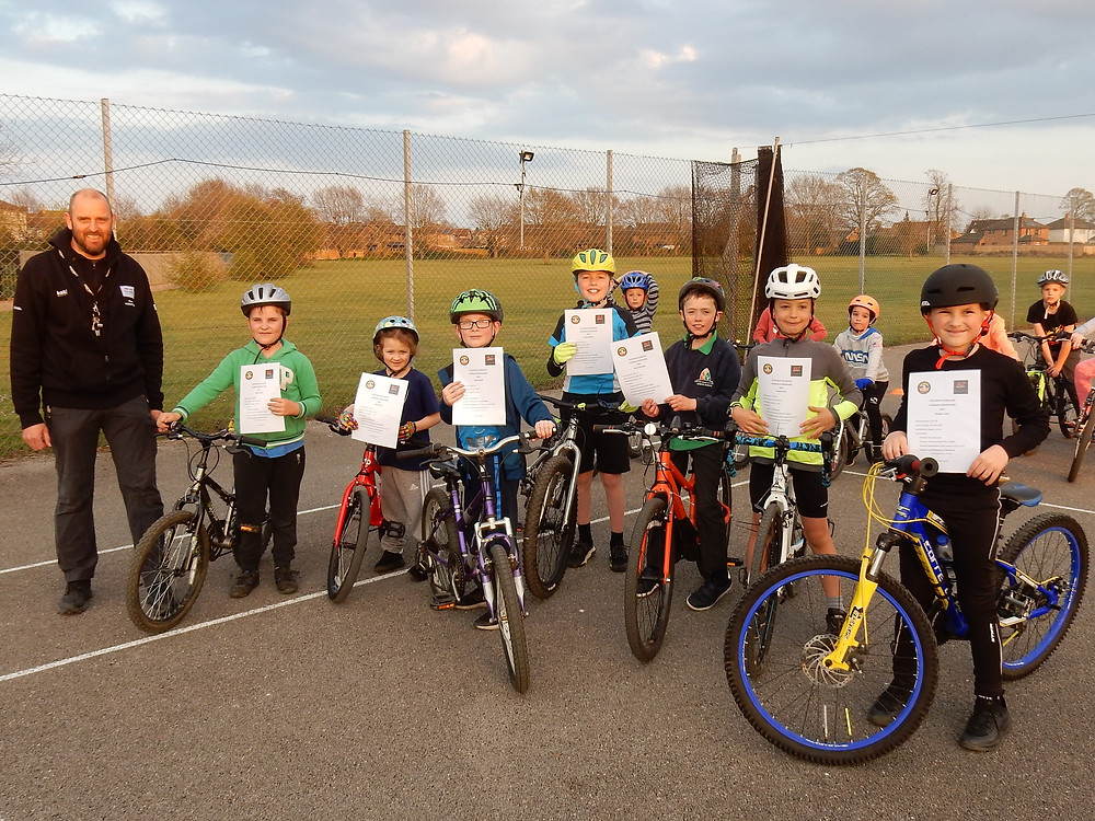 junior riders with their certificates