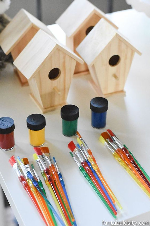 Paint a bird house and make some feed