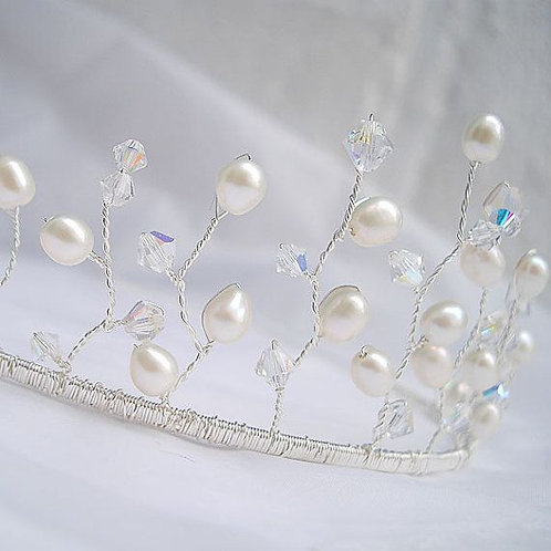 Wired tiara headdress - Silver, pearls and Swarovski