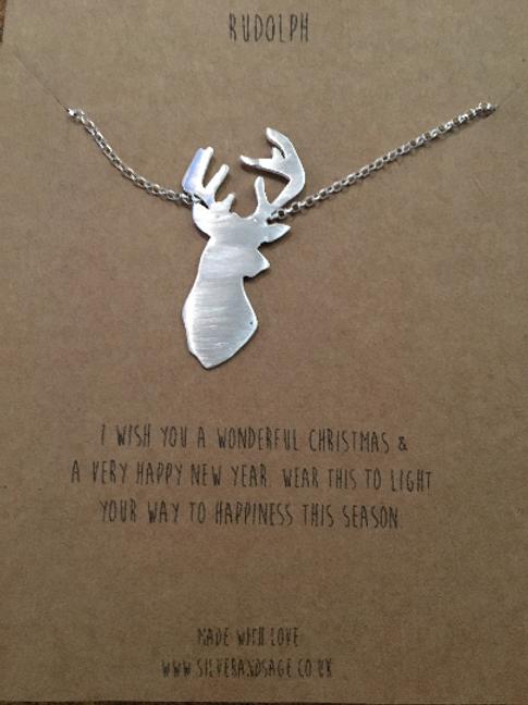 Deer / Reindeer silver pendent