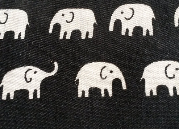Black and white elephants cotton