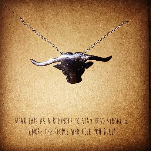 Silver longhorn bull pendant