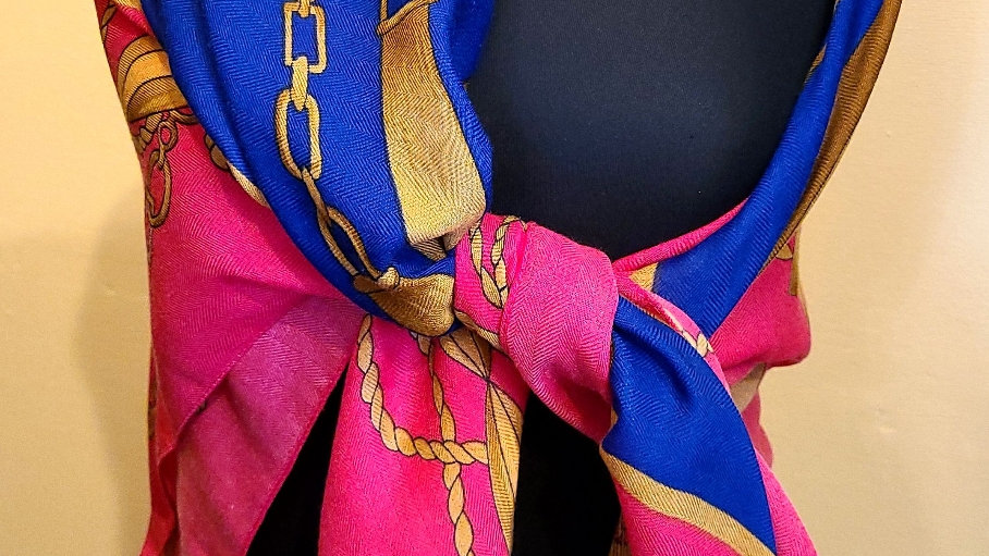 Hot pink, blue & gold square scarf