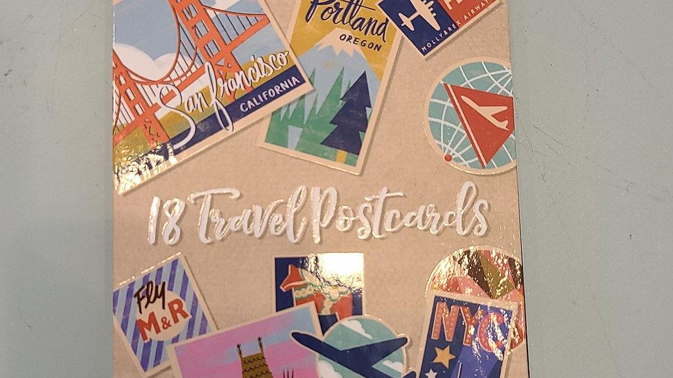 18 travel postcards