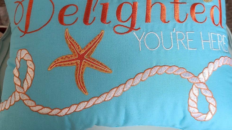 Delighted you're here decorative pillow