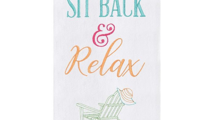 Sit Back and Relax Embroidered Kitchen Towel