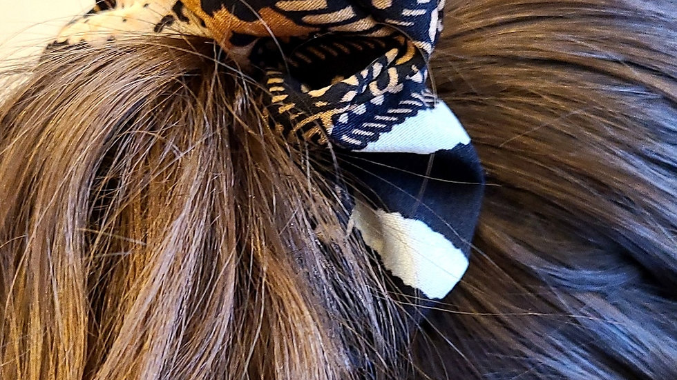 Brown, beige and black scrunchie