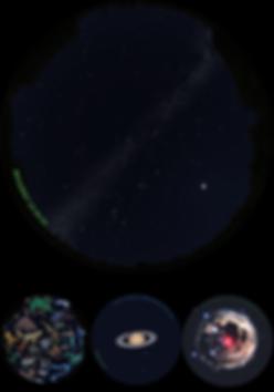Der Nachhimmel im Planetarium und drei Ansichten: Sternbilder, Saturn und ein Planetarischer Nebel
