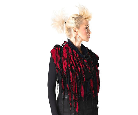 Waterfall Scarf in Red and Black