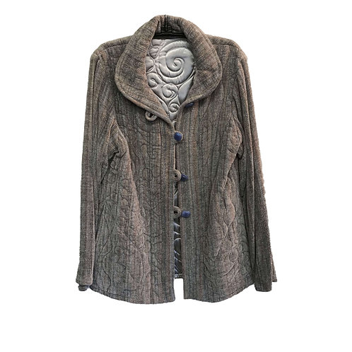 Quilted Jacket  (Pale Striped Grey w/ silver lining)