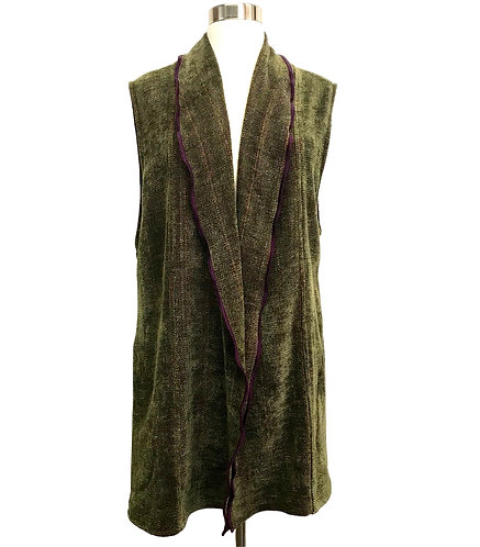 Fern Green Long Vest w/Shawl Collar