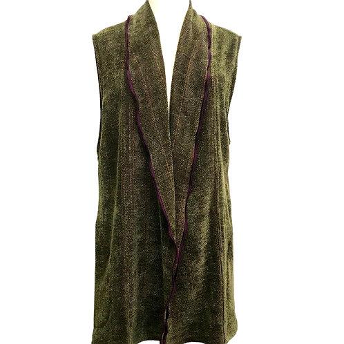 Fern Green Long Vest w/Shawl Collar