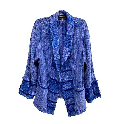 Blue Jacket with patchwork collar