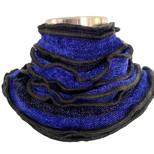 Black and Cobalt Blue Ruffled Edge Collar