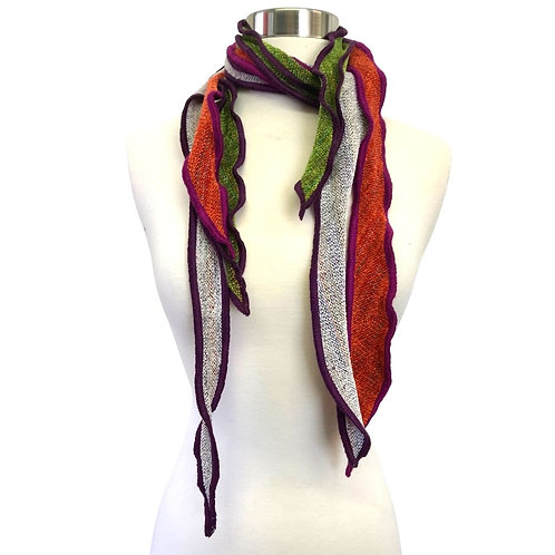 Three chenille fabric scarves in inter White, Paprika Orange and Lime Green.