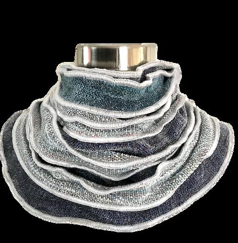 Ruffled Edge Collar in Grays and Teal