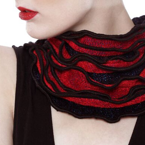 Red and Black Ruffled Edge Collar