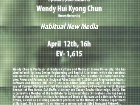 "Upcoming Event: Wendy Chun ""Habitual New Media"""