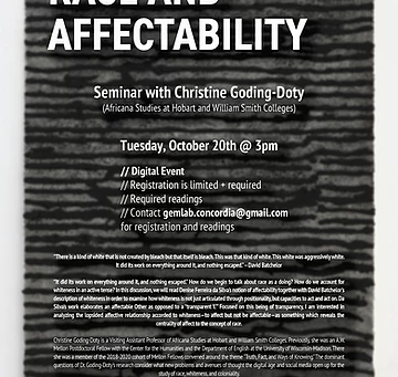 Event: Race and Affectability @ Gem Lab