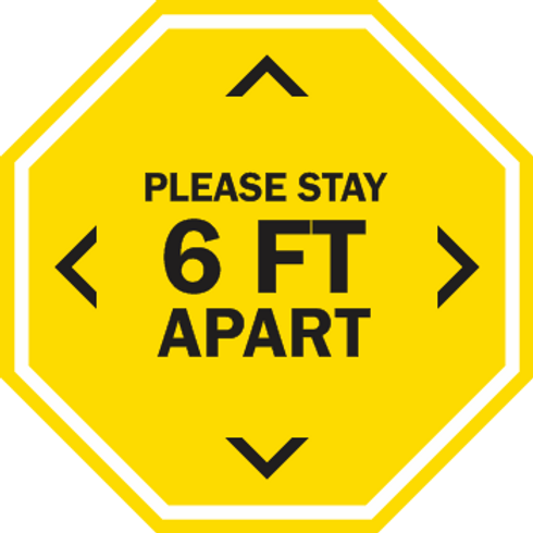 Please Stay 6ft Apart - Solid Octagon (5 per pack)