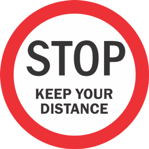 Stop Keep Your Distance - Round (5 per pack)