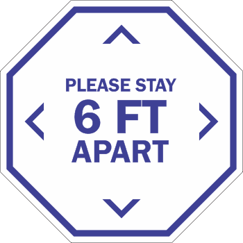 Please Stay 6ft Apart - Line Octagon (5 per pack)