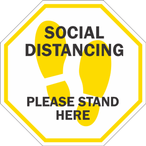 Social Distancing Please Stand Here (5 per pack)