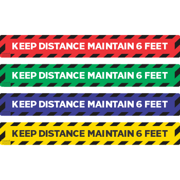 Keep Distance Maintain 6ft - Stripes Solid (5 per pack)
