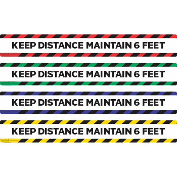 Keep Distance Maintain 6ft - Stripes Top Bottom (5 per pack)