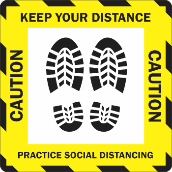 Caution Keep Your Distance - Stripes Boots (5 per pack)