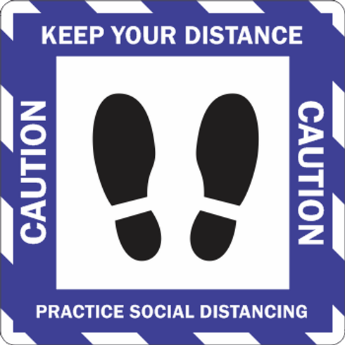 Caution Keep Your Distance - Stripes Feet (5 per pack)