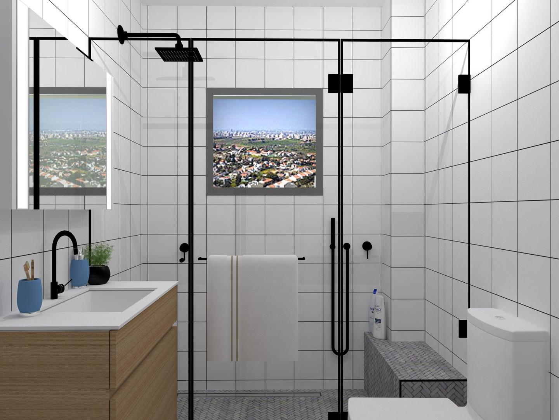 מקלחת הורים קטנה שהפכה למקלחת זוגית על ידי הזזת הפונקציות השונות