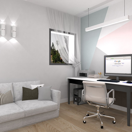 """תיכנון ועיצוב חדר עבודה ואירוח בממ""""ד"""