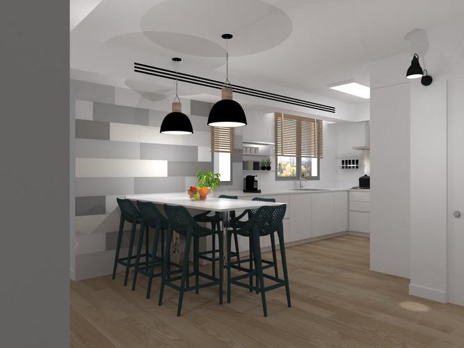 תכנון מטבח בדירת 5 חדרים בקרית אונו