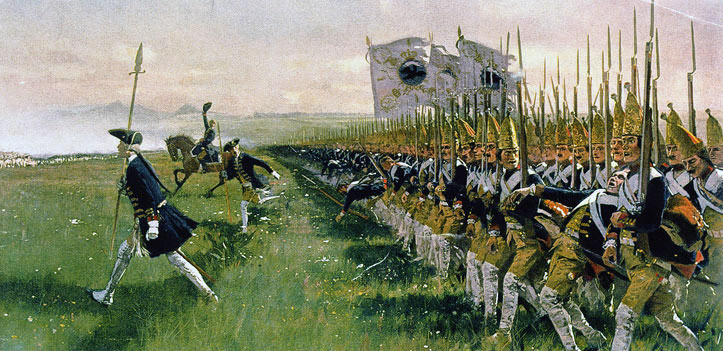 Painting of Prussian line infantry attack at 1745 Battle of Hohenfriedberg.