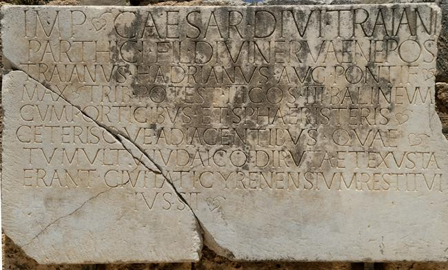 An inscription in Cyrene marking the rebuilding of the city following the disorders caused by the Jews. (119 CE)