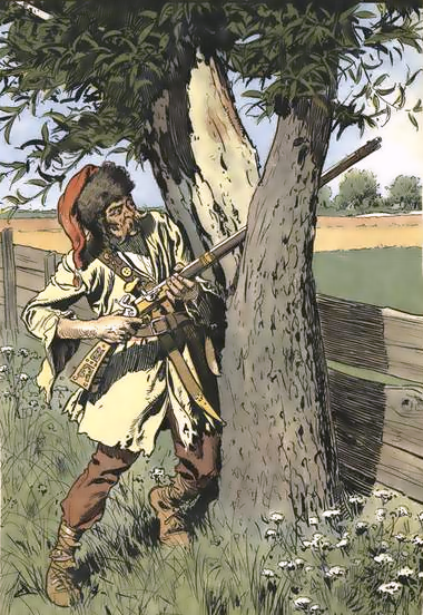 Austrian pandur, 1760, using a tree for cover while skirmishing.
