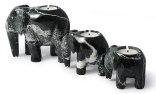 Black Marble Elephant Family