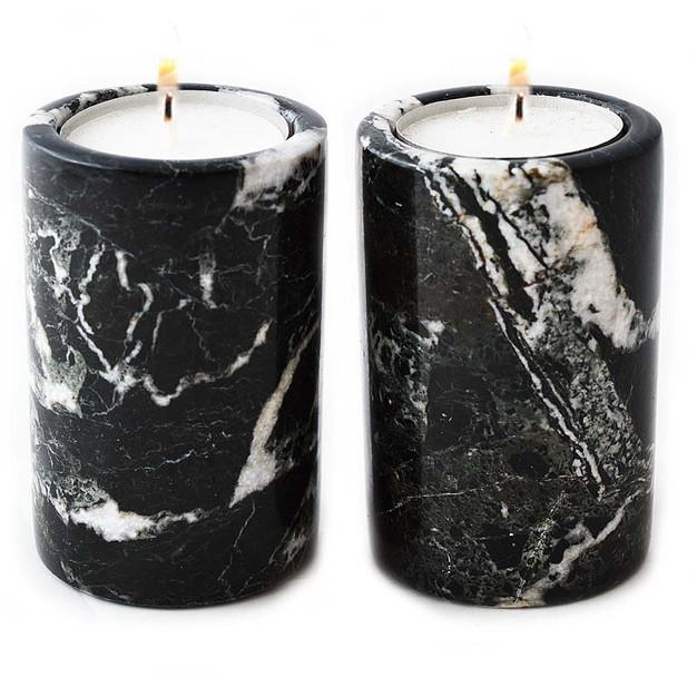 Black Marble Cylinder Candle Holder set