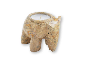 3 inch fossilstone elephant candle holder