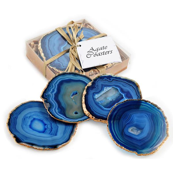 Agate Gilt Edged Coasters Blue.jp