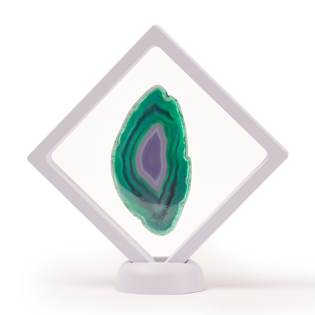 White Framed Green Agate Slice