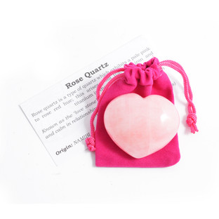 Rose Quartz Heart With Pouch and Card