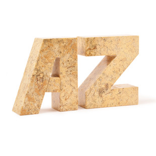 Beige Fossilstone Marble A-Z Bookends