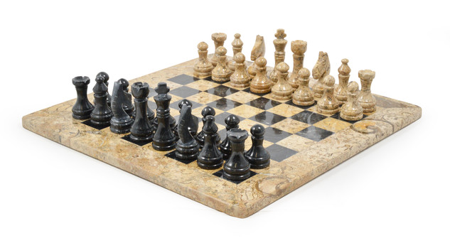 Black and Fossilstone Chess Set