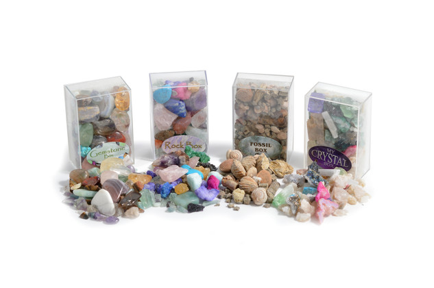 Rock, Crystal, Gem and Fossil Box Set of 4 Boxed Collections