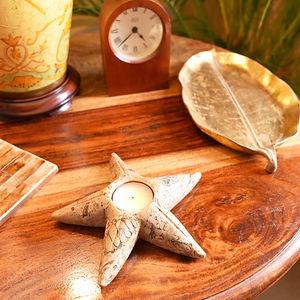 6 Inch Fossilstone Starfish Tea Light Ho